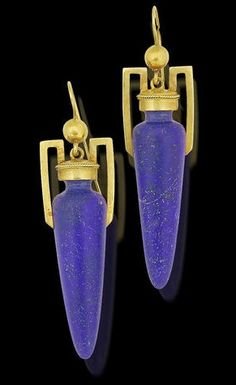 A pair of 19th century lapis lazuli and gold pendent earrings. Of…