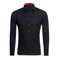 Men Casual Fashion Long-sleeved Lapel Shirt 6 Colors