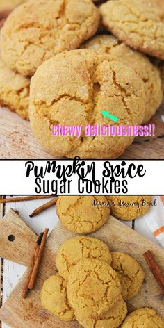 "If you're craving that amazing taste of fall, these Pumpkin Spice Sugar Cookies are calling your name. Not only are they ""melt in your mouth"" good, but they're super simple to whip up in a jiffy as well. Sweets Recipes, Fun Desserts, Pumpkin Sugar Cookies, Pumpkin Recipes, Fall Recipes, Pumpkin Pie Mix, Fall Dishes, Homemade Cookies, Super Simple"