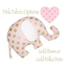 Personalized Baby Elephant Nursery Pillow / Mint Green / Pink / Gold Polka Dots Elephant Nursery Girl, Mint Nursery, Small Space Nursery, Carousel Designs, Disney Nursery, Nursery Storage, Gold Polka Dots, Pink Fabric, Personalized Baby