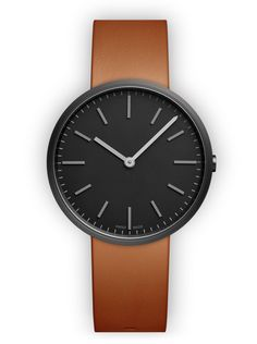 Uniform Wares (M37 Two-hand watch in PVD Black   with tan nappa leather strap). Movement: Quartz. 250.-