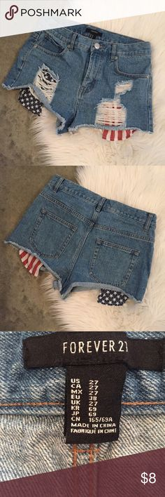Forever 21 American Flag Cut Offs 4th of July ready ❤️ In perfect condition, only worn once (4th of July obviously ) Forever 21 Shorts Jean Shorts