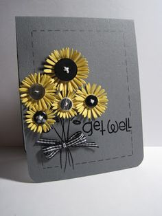 I would use a different color than grey but love the sunflowers and buttons!
