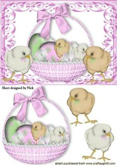 CUTE LITTLE BASKET OF CHICKS AND EASTER EGGS on Craftsuprint - Add To Basket!