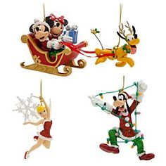 Disney Mickey Mouse and Friends Ornament Set - Holiday | Disney StoreMickey Mouse and Friends Ornament Set - Holiday - Flying through the boughs of your family tree, Mickey and Minnie guide Santa's sleigh with Pluto leading the way. This set of four fun holiday ornaments also includes Goofy caught in a string of disaster and Tink in a wintry wardrobe.