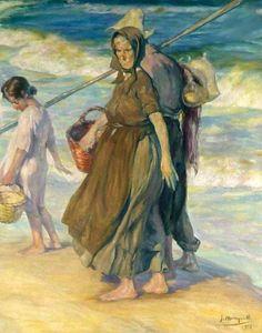 José Mongrell Torrent - Despues de la pesca (After The Catch) Fish Monger, Visual Texture, Deep Sea Fishing, The Donkey, Spanish Artists, Reproduction, Vintage Artwork, Beach Art, Vincent Van Gogh