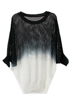 Gradient Knitted Black and White Shirt - great top to be worn for either day or night w jeans or skinny black pants
