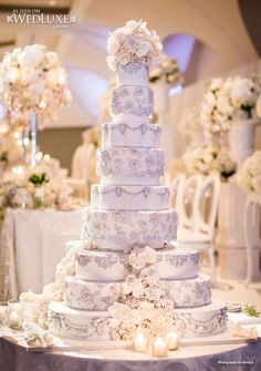 Over-the-top wedding cake design! 9 tiers. Bobbette & Belle.