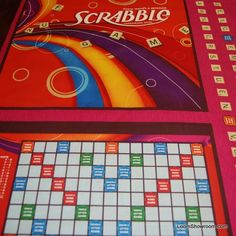 Scrabble Game Hasbro Game Board Cotton Fabric Quilt Fabric Panel T254