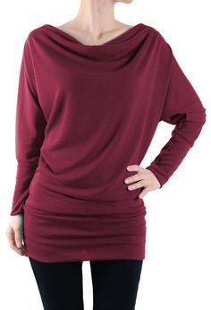"""- Material: 87% Polyester + 9% Rayon + 4% Spandex, Made in U.S.A. - Basic Knit Tunic, Comfy, Dolman Long Sleeve Tunic Top. - [Small - Chest: 34.5"""" Waist: 28"""" Bottom Band Width: 28.5"""" Wrist Band Width:"""