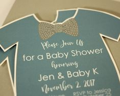Printed Baby Shower Invitation with Envelopes | Printed Invites and Color Envelopes | Blue and Gray Invite