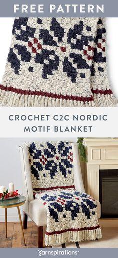 Free crochet pattern using Bernat Softee Chunky Tweeds yarn. Free Crochet Nordic Motif Blanket p Christmas Crochet Blanket, C2c Crochet Blanket, Crochet Afgans, Holiday Crochet, Crochet Home, Crochet Crafts, Free Crochet, Crochet Blankets, Crochet Quilt