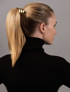 The 5 Hair Accessories You Need for Fall—and How to Wear Them - Cara Metallic Cutout Cuff Ponytail Holder from InStyle.com