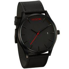 MVMT Black/Black Leather Watch