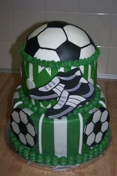 """Soccer anyone! - Darn...my buttercream settled darker than my fondant.  Still looks pretty good though!  I made this for a local soccer team's season end party.  6 and 8"""" rounds frosted and filled with buttercream.  Fondant/gumpaste accents!  TFL.  I would love to hear what you think! :)"""