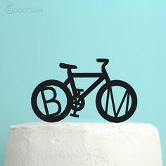 Personalized Wedding Cake Topper - Bicycle Monogram Initials Cake Topper - Unique Custom Bike Wedding Cake Topper - Peachwik - PT4 Bicycle Cake, Bike Cakes, Wedding Types, Wedding Ideas, Wedding Decorations, Wedding Cake With Initials, Bicycle Wedding, Personalized Wedding Cake Toppers, New Baby Products