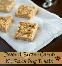 No Bake Peanut Butter Carob Dog Treats All dogs love peanut butter, and these dog treats bars are so easy you'll love to make them too! These no bake dog treats are perfect for warm summer days, th… No Bake Dog Treats, Peanut Butter Dog Treats, Homemade Dog Treats, Healthy Dog Treats, Doggie Treats, Dog Treat Recipes, Dog Food Recipes, Helping Dogs, Baking