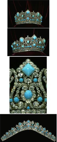 PERSIAN TURQUOISE DIADEM OF MARIE LOUISE, WIFE OF NAPOLEON~ wedding present from Emperor Napoleon I to Empress Marie Louise his second wife. Originally part of a Parure, it was fitted with 79 emeralds and the current 1000 diamonds that total 700 carats. Altered in 1952 by Van Cleef and Arpels who replaced the emeralds with Persian turquoise, set in both silver and gold metal. Marjorie Merriweather donated it to the Smithsonian Institution in 1971.