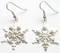 Shelly's Selections Oops Sterling Snowflake Earrings w/ Swarovski Crystals by CrashsCuriosities