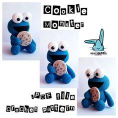 Cookie Monster. PDF file amigurumi crochet pattern. Sesame Street inspired character. DIY handmade toy