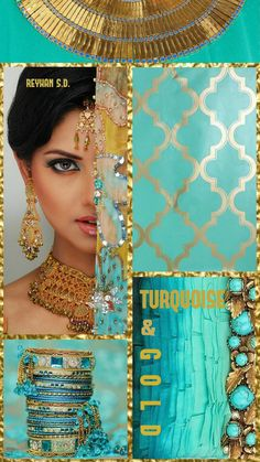 '' Turquoise & Gold '' by Reyhan S.D.