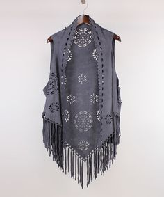 Love this Gray Floral Faux Suede Fringe Vest on #zulily! #zulilyfinds