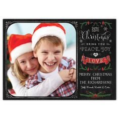 Share a special family photo this holiday season with our Chalkboard Christmas Holly photo card. With art by Mollie B., your photo is displayed on a black chalkboard style background, decorated by trendy chalk hand lettering and modern holly illustrations.