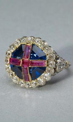 Queen Victoria's Coronation Ring. 1838. Gold, sapphire, rubies, diamonds, silver.