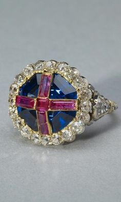 Queen Victoria's coronation ring: sapphire, ruby, diamond, silver and gold.