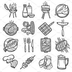 Bbq grill sketch decorative icons - Icons - 1