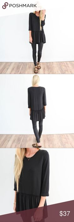 Shop Stevie - Fiona Ruffle Top in Black Super comfy and perfect to transition into fall. shop stevie Tops