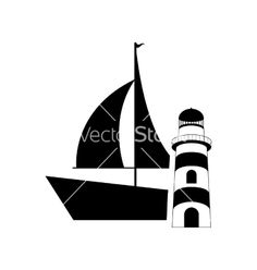 Sail boat and lighthouse icon vector