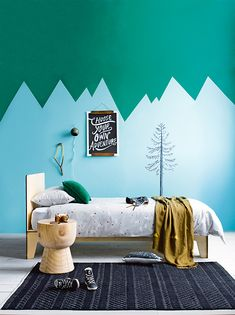 d.i.y. inspiration... 10 ABSTRACT MOUNTAIN WALLS IN KIDS ROOMS