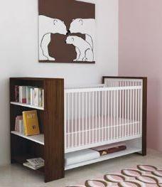 sweet polar bear themed nursery. loving the modern lines and color palette!
