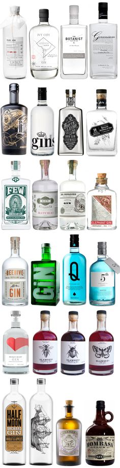 different #designs of #gin #bottles