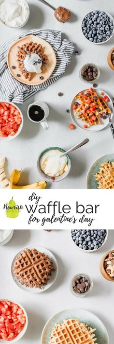 10 Most Misleading Foods That We Imagined Were Being Nutritious! Diy Waffle Bar Party The Best Topping Ideas For An Easy Waffle Bar To Celebrate Galentine's Day Or Valentine's Day Via Nourishnutrico Waffle Recipes, Brunch Recipes, Sweet Recipes, Dessert Recipes, Brunch Dishes, Easy Desserts, Pasta Recipes, Bread Recipes, Sweet Breakfast