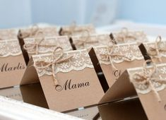 rustic place cards, rustic wedding place cards, country wedding place cards, name cards with lace, p Wedding Name, Wedding Places, Wedding Place Cards, Rustic Place Cards, Rustic Wedding Rings, Wedding Country, Table Name Cards, Wedding Invitation Paper, Ring Pillow Wedding