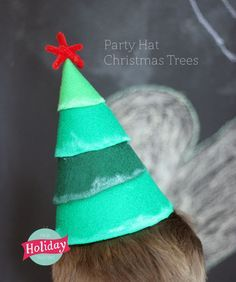 These are so fun! Christmas tree party hats are great to wear or to have around for decoration.