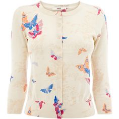 Oasis Butterfly Print Cardigan ($29) ❤ liked on Polyvore featuring tops, cardigans, sweaters, outerwear, jackets, 3/4 sleeve tops, round neck top, butterfly print top, cardigan top and pink cardigan