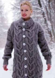 01e7cc22d06 Made to order hand knit mohair cardigan in gray stone