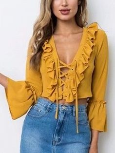 Yellow Lace Up Front Ruffle Trim Long Sleeve Blouse Yellow Blouse, Yellow Lace, Casual Dresses, Casual Outfits, Fashion Outfits, Summer Outfits, Latest Fashion For Women, Womens Fashion, Crop Shirt