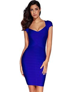 Meilun Women's Rayon Sexy Short Sleeve Square Neck Bandage Dress Large Blue