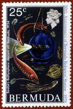 William Beebe dives to a record depth of feet on June in Bermuda waters in a diving chamber called a bathysphere. British Indian Ocean Territory, Vintage Stamps, Mail Art, Stamp Collecting, My Stamp, Natural History, Ephemera, Poster, Prints