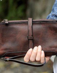 Handmade leather zipper clutch purse long wallet purse clutch zip men women