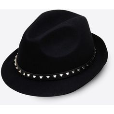 Valentino Rockstud Trilby Hat (10,285 MXN) ❤ liked on Polyvore featuring accessories, hats, black en black hat