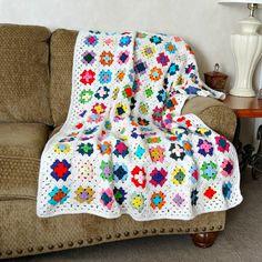 Crochet Afghan, Granny Square Blanket, Crochet Blanket, Multi Color Crocheted Throw, Ready to Ship