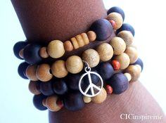 FLASH SALE Wood beaded Peace charm bracelet set by CICinspireme, $12.00