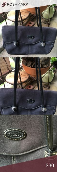Tods Handbag Plumb Colour Suede With Leather Straps. Light Stitching. Inner Zip Compartment. I saw my bag listed on an auction site for a buy now price of $149. Priced to Sell Tods Bags Satchels