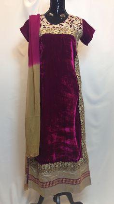 Designer Velvet Anarkali Set - Eggplant