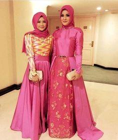 Busana Gamis Muslim Kombinasi Brokat